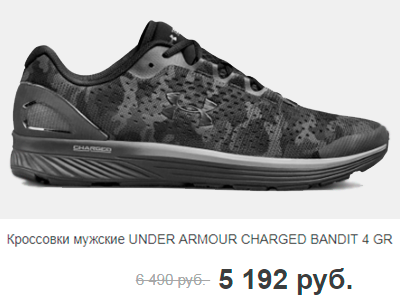 Кроссовки мужские UNDER ARMOUR CHARGED BANDIT 4 GR
